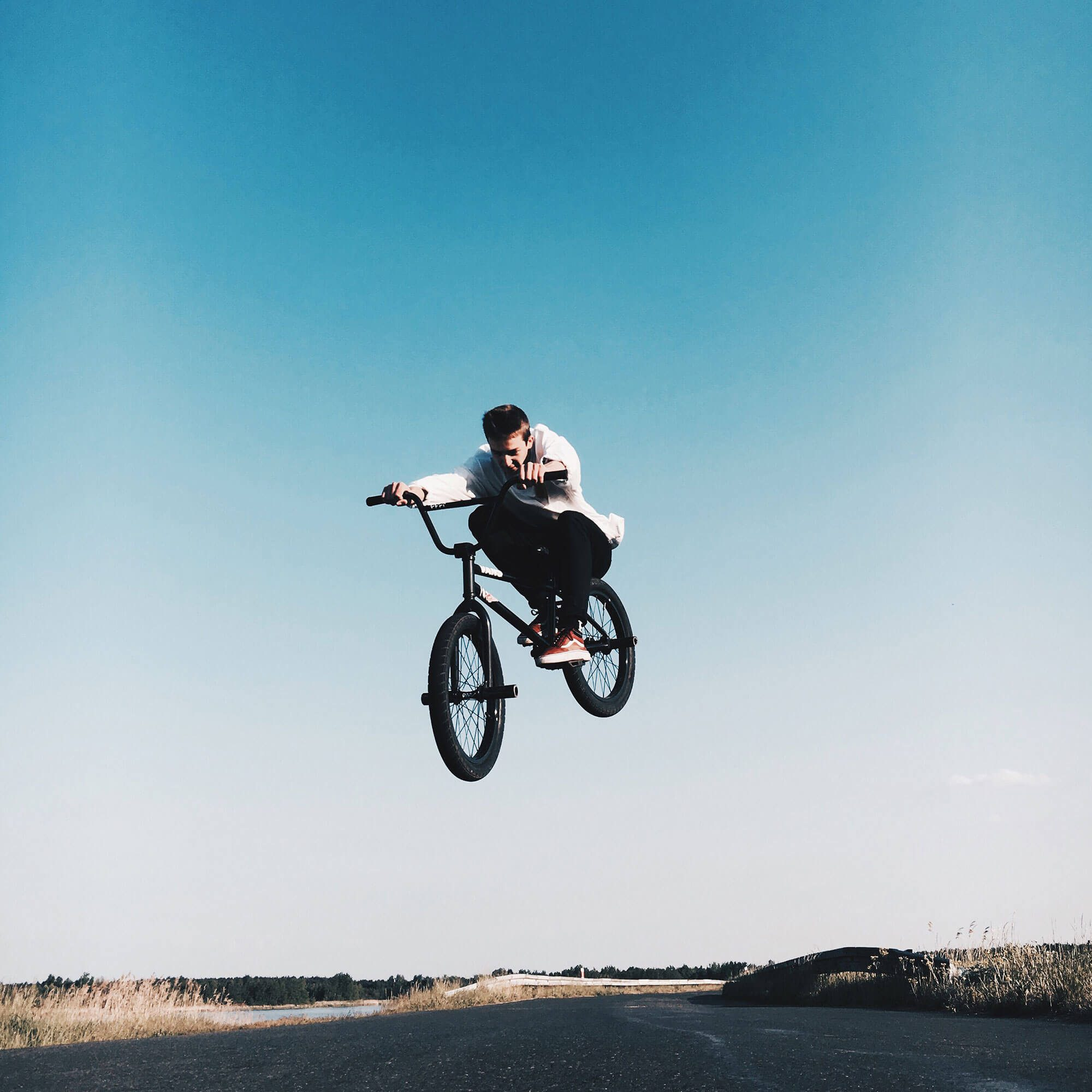 Boy on bmx in air