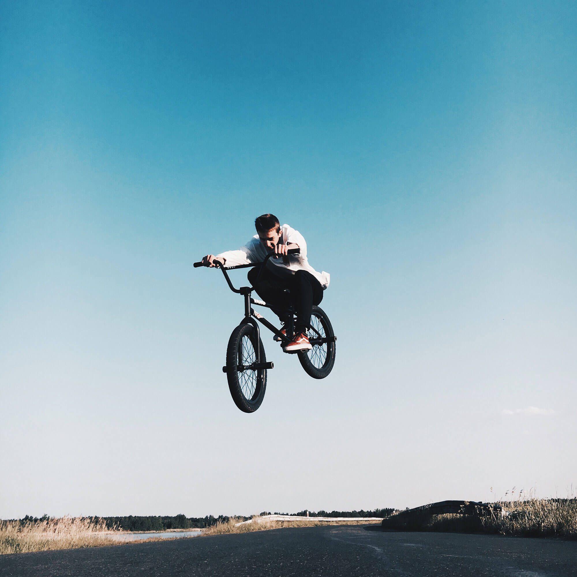 Boy on bmx in air