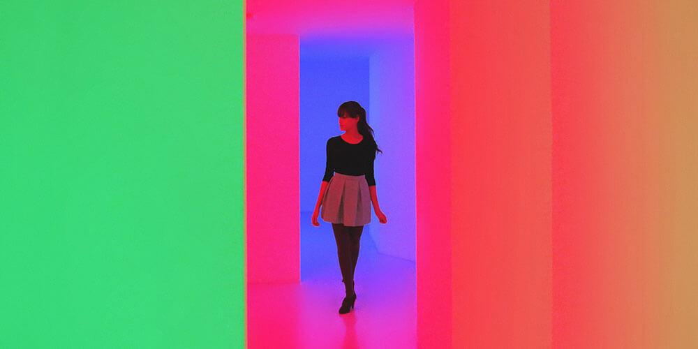 woman in bright corridor