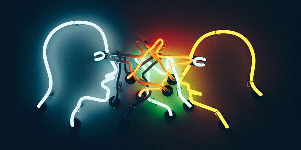Neon lights talking heads