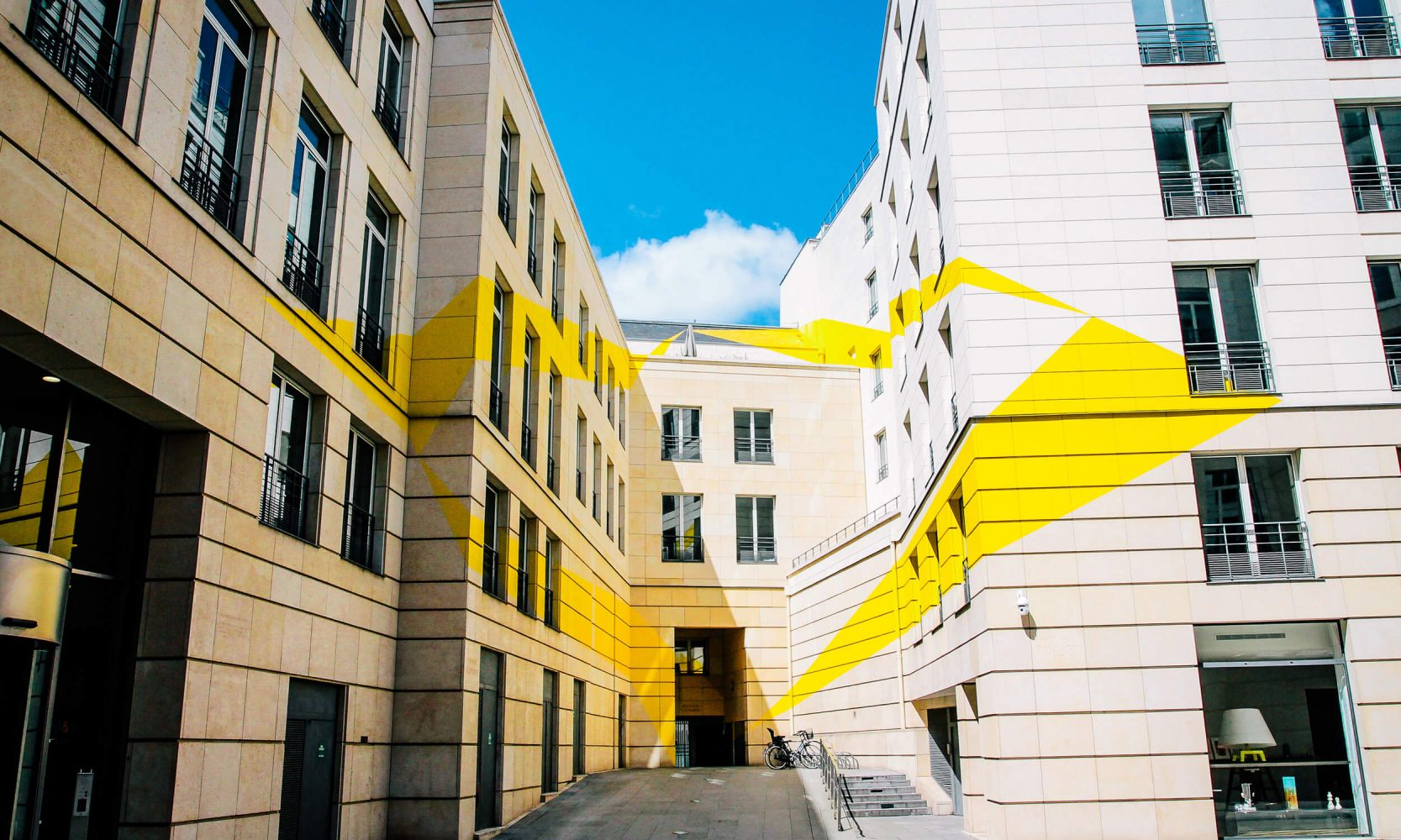 buildings with yellow design